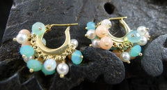 Talisman Unlimited 14K Yellow Gold Baby Fringe Hoop Earrings of Pearl, Coral and Peruvian Opal