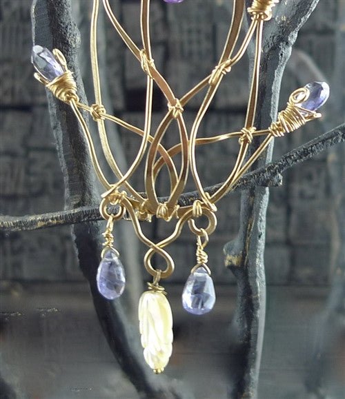 Kuumba Iolite and Carved Mother of Pearl Earrings