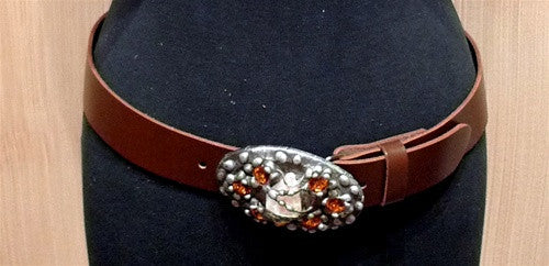 Mikal Winn Pewter Tone Buckle Embellished with Cognac Crystals and Rock on Cognac Leather Belt
