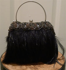 Moo Roo Black Feather Evening Purse with Bronze Beading