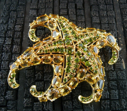 Jarin Kasi Starfish Pin with Citrine and Peridot CZ Stones