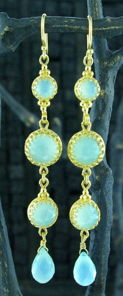 Becky Kelso 18 K Yellow Gold and Calcite Drop Earrings