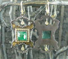 Armenta Square Malachite, Diamond, White Sapphire and Quartz Earrings in 18K Yellow Gold and Midnight Silver