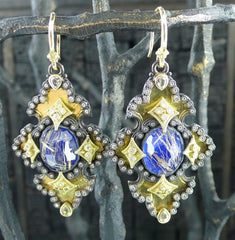 Armenta Iris Diamond and Lapis Earrings in 18K Yellow Gold and Midnight Silver