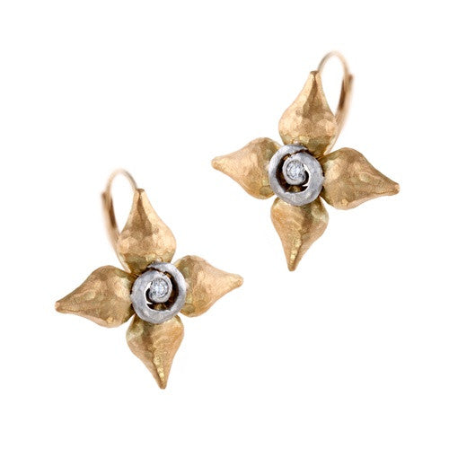 Pamela Froman Four Point Diamond Earrings in 18K Yellow and White Gold