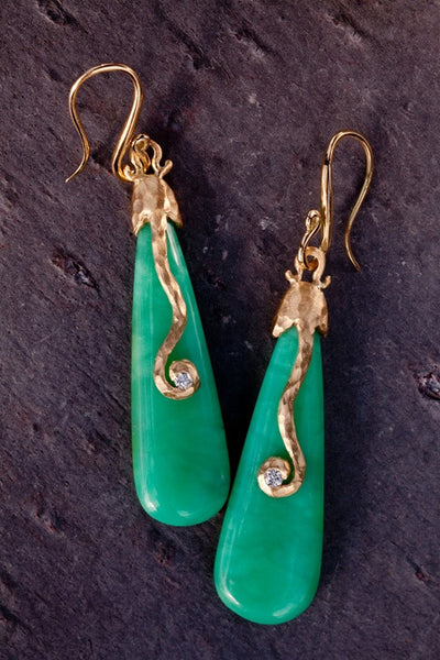 Pamela Froman 18K Yellow Gold Chrysoprase and Diamond Earrings
