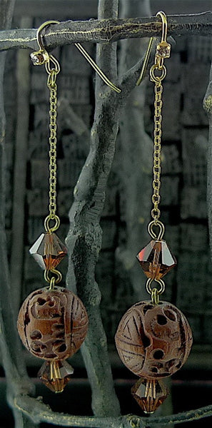 Pat's Carved Wooden Drop Earrings
