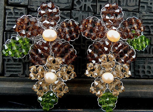Mindy Lam Swarovski Crystal Double Flower Earrings in Brown and Cream