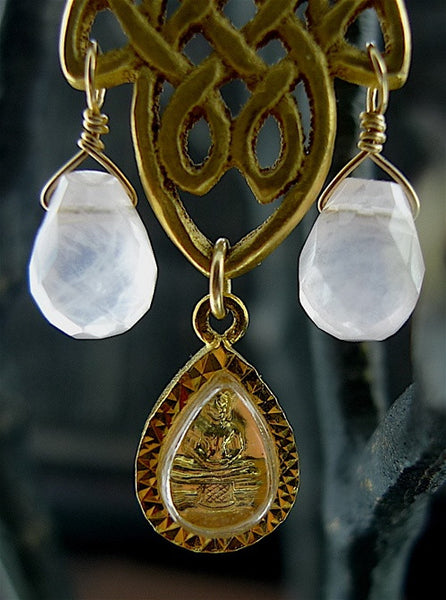 Cameron Cohen Gold Leaf Drop Earring with Buddha