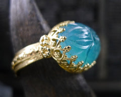 Becky Kelso 14K Yellow Gold and Carved Apatite Ring