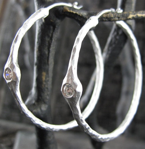 Pamela Froman 18k White Gold and Diamond Crushed Headlight Hoops