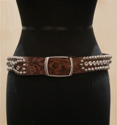 B-Low The Belt Brown Tooled Leather Studded Belt