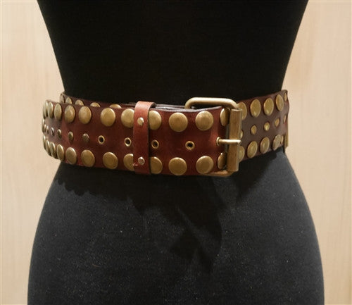 Continental Leather Fashion Leather Studded Belt-Brown