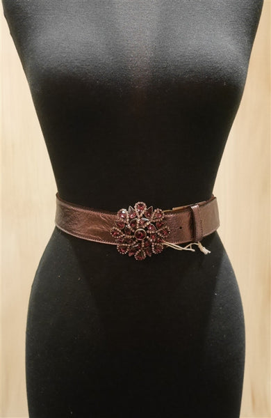 B-Low The Belt Amethyst Crystal Medallion Buckle on Tan Belt