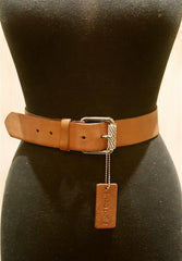 Linea Pelle Crystal Buckle on Saddle Leather Belt