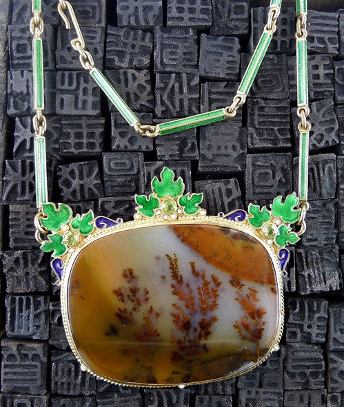 Rare Picture Agate Necklace in Vermeil with Enameling, Peridots and Seed Pearls