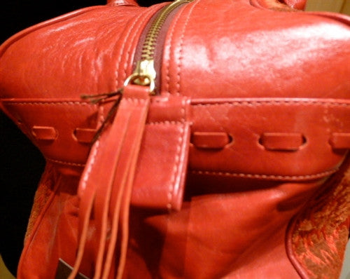 Malini Murjani Red Brocade Paris Train Tote