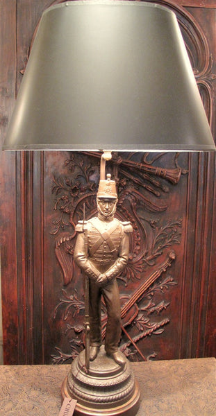 Antique Spelter Lamp of European Soldier, Late 19th Century