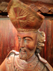 Antique Figural Group of Saint Nicholas and Children, Carved Walnut, 20th Century