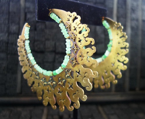 Vanessa Monteil Peruvian Green Chalcedony Hoop Earrings in Vermeil Finish