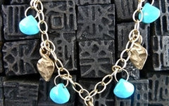 Kamofie 14K Yellow Gold Leaf Charms and Turquoise Necklace