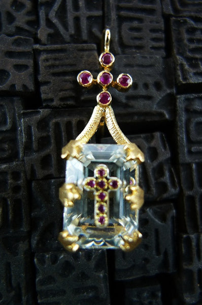 Pade Vavra White Faceted Topaz and Ruby Cross Earring 18K Yellow Gold