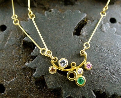Gretchen Julius 18K Yellow Gold with Mixed Gemstone Necklace