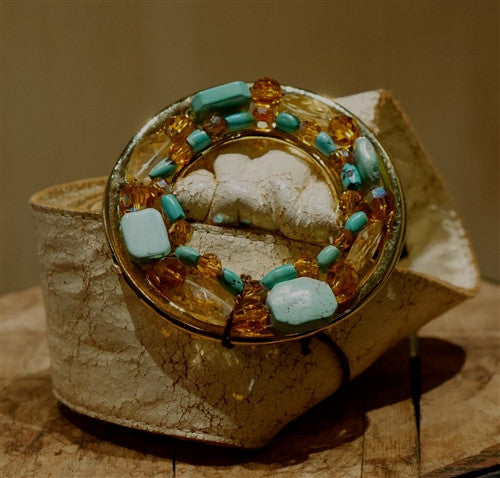 Rachel Abroms Crystal Gold and Turquoise Belt