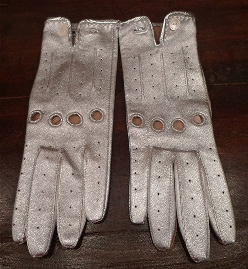 Shaneen Huxham Silver Metallic Leather Driving Gloves