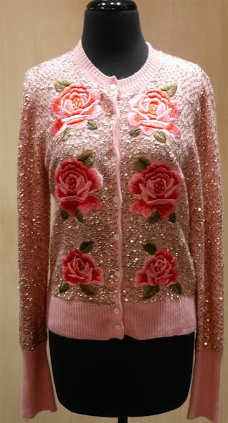 Cake Couture 6 Sequin Rose Button Up Long Sleeve Cardigan Sweater