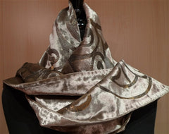 Corem Rose Venetian Silk Velvet Taupe and Silvery Gold Hand Painted Scarf