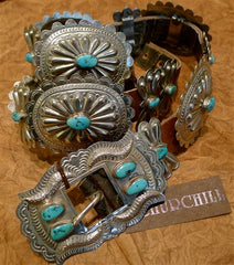 Antique Sterling Silver and Turquoise Concha Belt