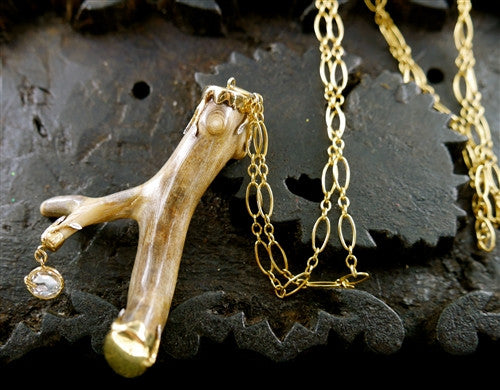 Pade Vavra Ancient Petrified Coral Branch with White Diamond Drop Necklace
