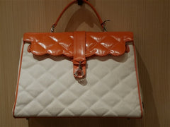 My Flat In London Quilted Canvas Orange Handbag