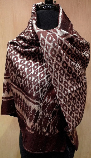 Imperio IKAT Silk Shawl, Wrap or Scarf in Brown