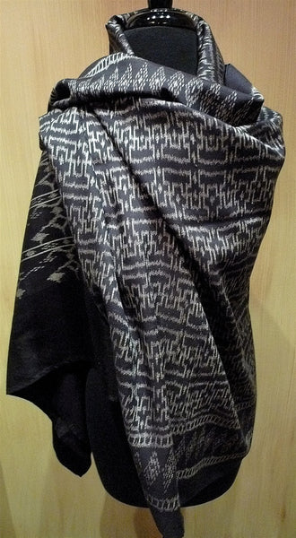 Imperio IKAT Silk Shawl, Wrap or Scarf in Black with White Pattern