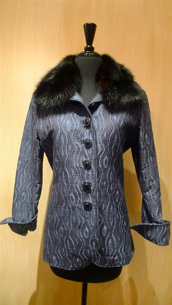 Quadrille Custom Blue and Black Dress Riding Jacket with Black Sable Collar