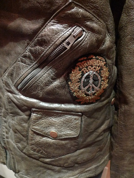 HTC Men Leather Motorcycle Jacket with Embroidered Medals and Patches