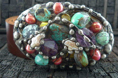 Mikal Winn Turquoise, Amethyst, and Crystal Encrusted Belt Buckle with Leather Strap