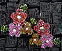 Mindy Lam Multi Colored Swarovski Crystal Flower Earrings