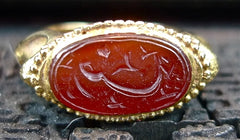 Antique 18K Yellow Gold and Carved Carnelian Intaglio RIng