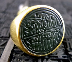 Venetian 22K Yellow Gold Carved Stone Ring