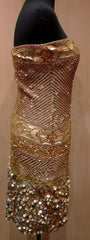 Farah Khan Tori Gold Sequined Cocktail Dress