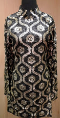 Farah Khan Black and Gold Sequined Dress