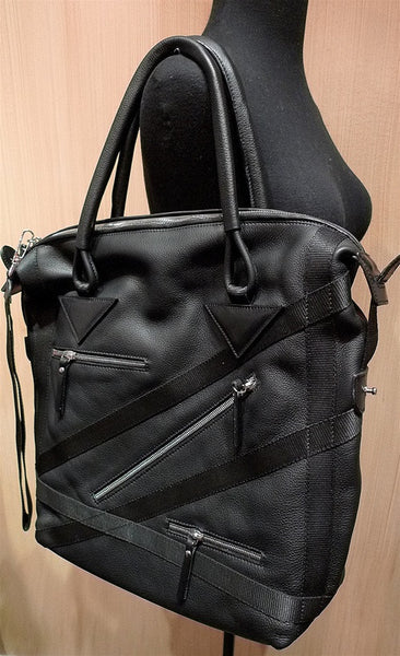 Pauric Sweeney Black Leather Zippered Tote