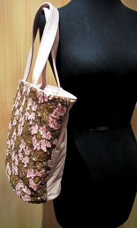 Joanna L'Huillier Large Hand Beaded Old Rose Shoulder Tote Handbag
