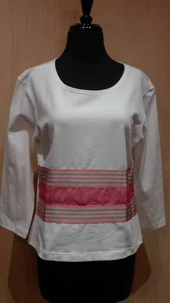 Sally Spicer White Stretch Tee with 3/4 Shirt with Pink Ribbon Stripe