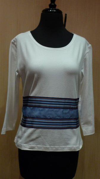 Sally Spicer White Stretch Tee with 3/4 Shirt with Blue Ribbon Stripe
