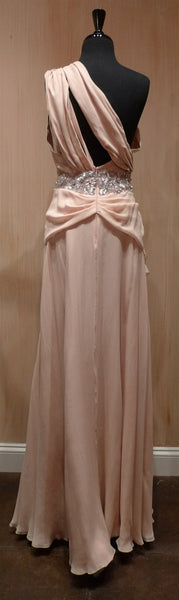Jenny Packham Nude Grecian Goddess One Shouldered, Jeweled Silk Gown