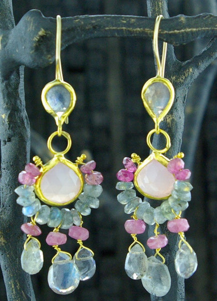 Nava Zahavi 24 K Gold, Rose Quartz and Labradorite Earrings